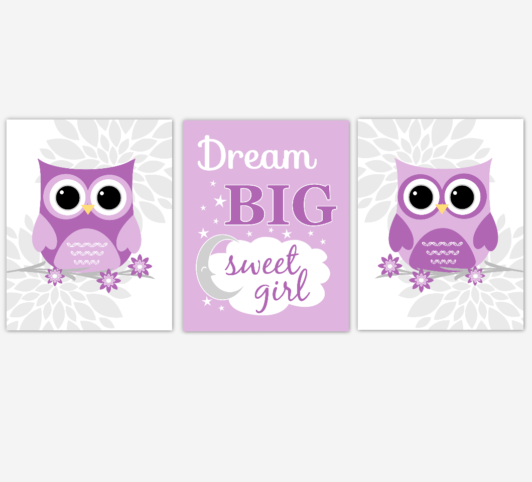Purple Baby Girl Nursery Wall Art Owl Dahlia Mum Flowers Dream Big Sweet Girl Baby Nursery Decor