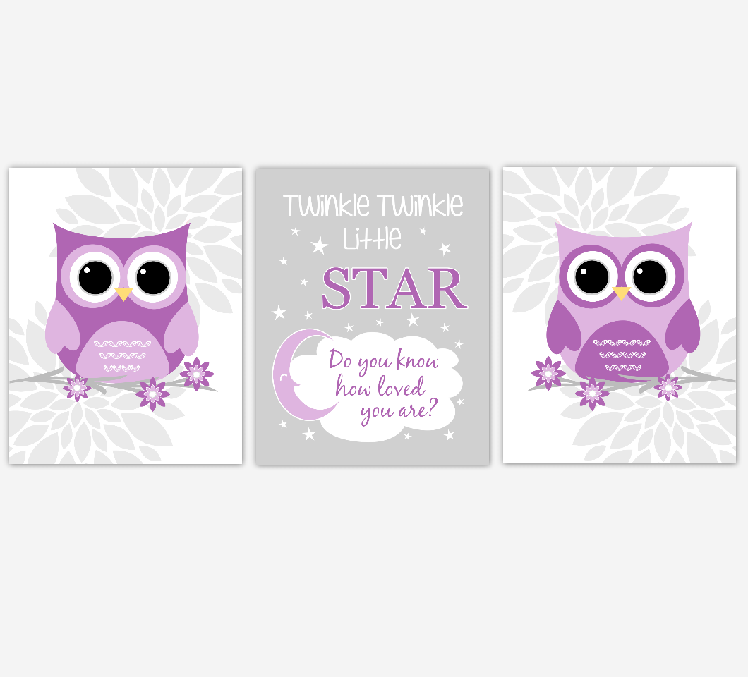 Owl Baby Girl Nursery Wall Art Owl Pictures Purple Dahlia Mum Flowers Twinkle Little Star Baby Nursery Decor