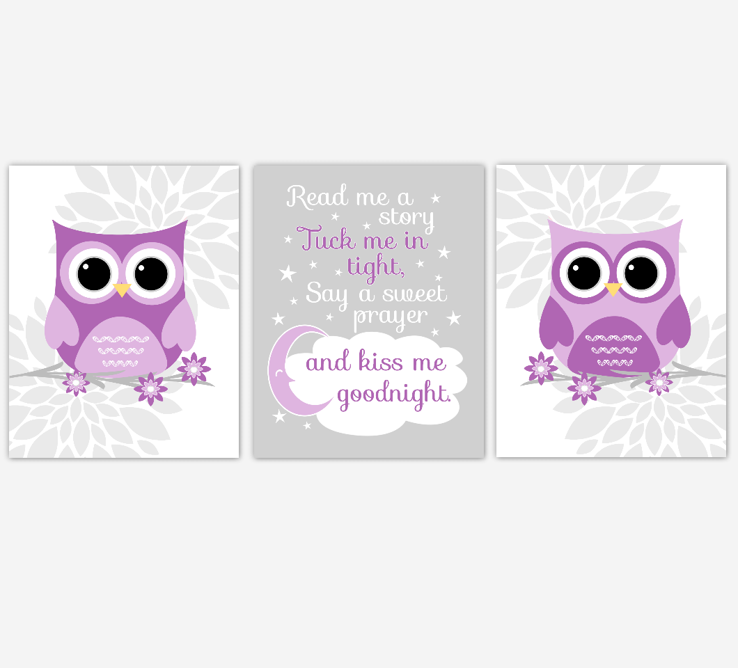 Purple Baby Girl Nursery Wall Art Owl Dahlia Mum Flowers Baby Nursery Decor