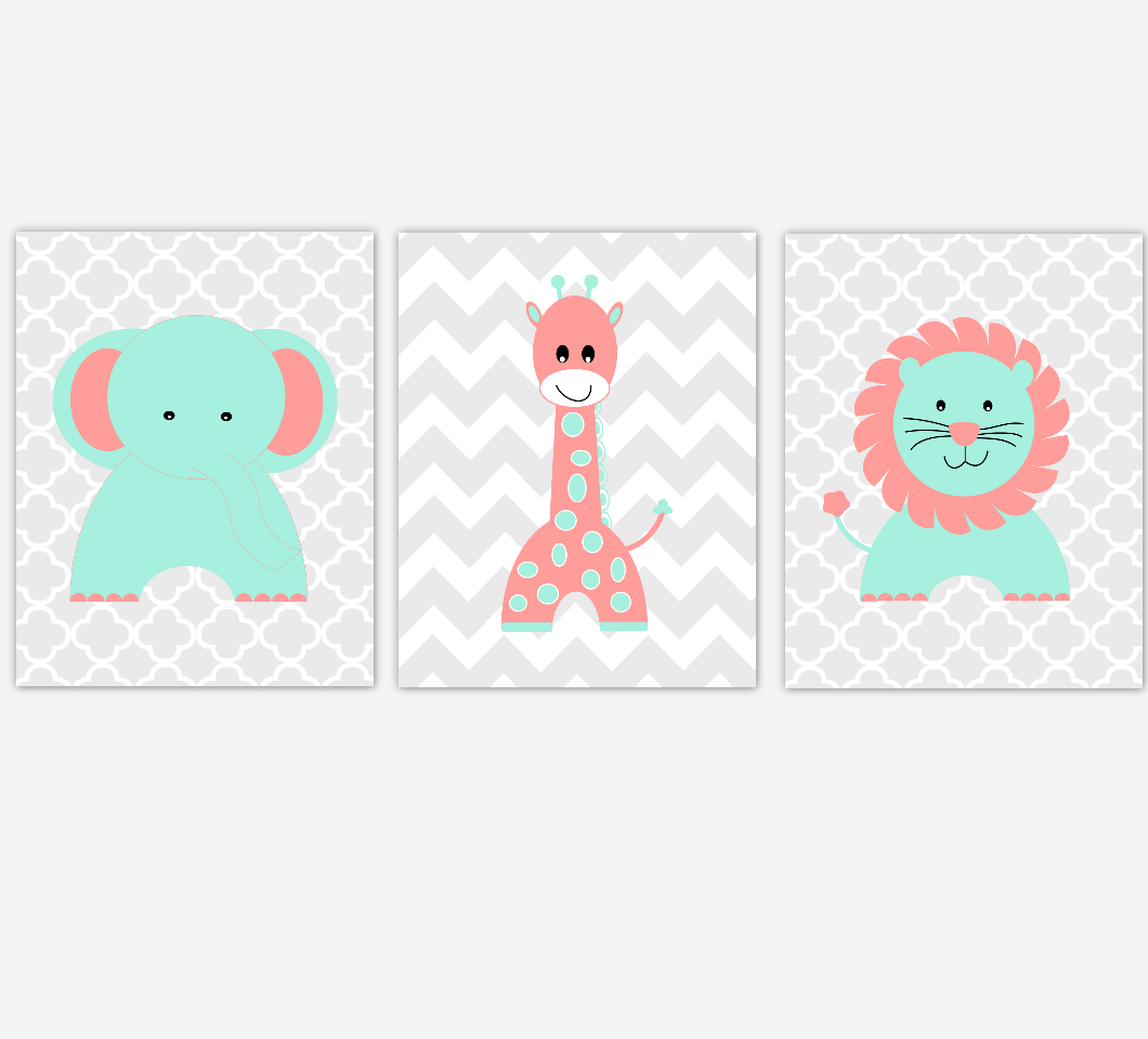 Coral Mint Baby Girl Nursery Wall Art Elephant Giraffe Lion Jungle Safari Animals Nursery Decor