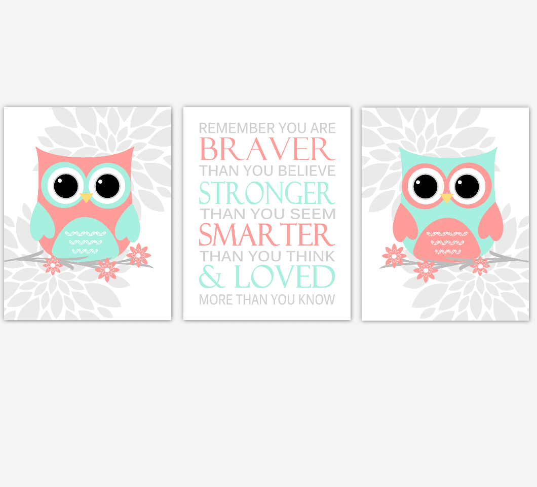 Coral Mint Baby Girl Nursery Wall Art Owls Mum Dahlia Flowers Remember You Are Braver Nursery Decor