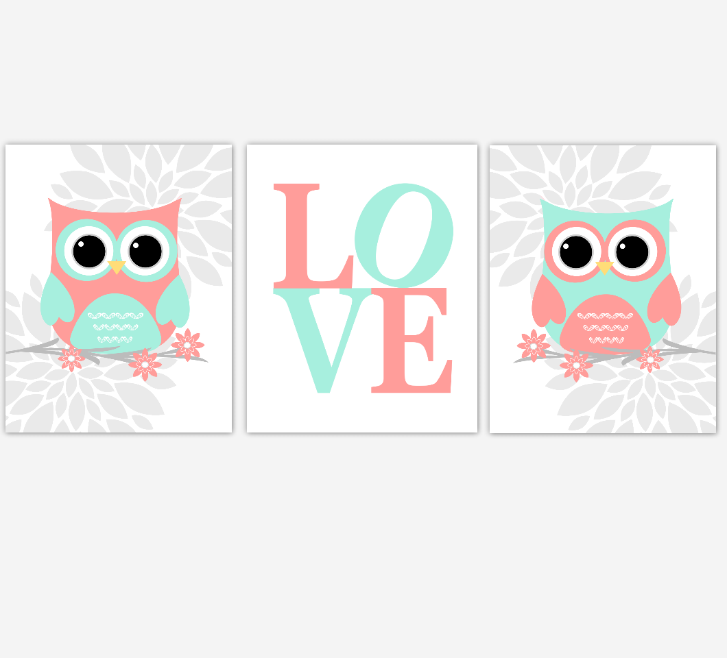 Coral Mint Baby Girl Nursery Wall Art Owls Mum Dahlia Flower LOVE Nursery Decor