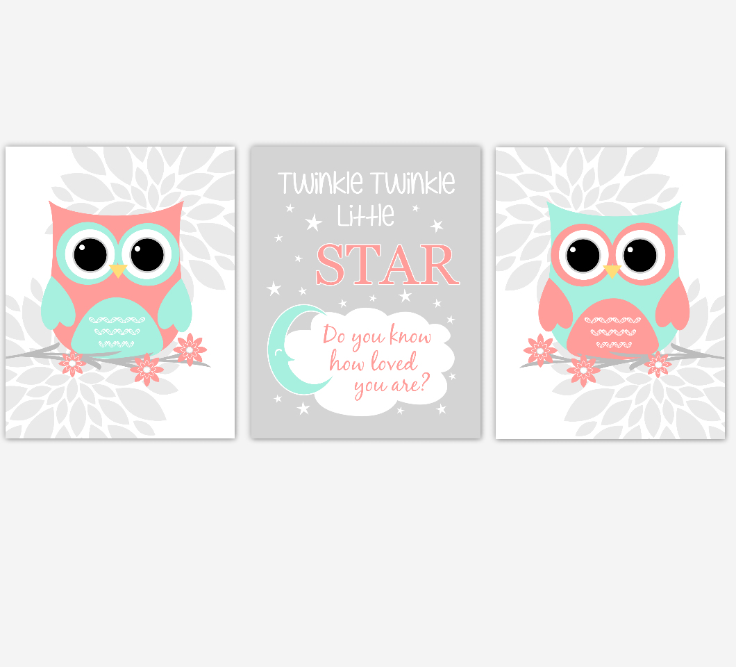 Coral Mint Baby Girl Nursery Wall Art Owls Mum Dahlia Flower Baby Nursery Decor
