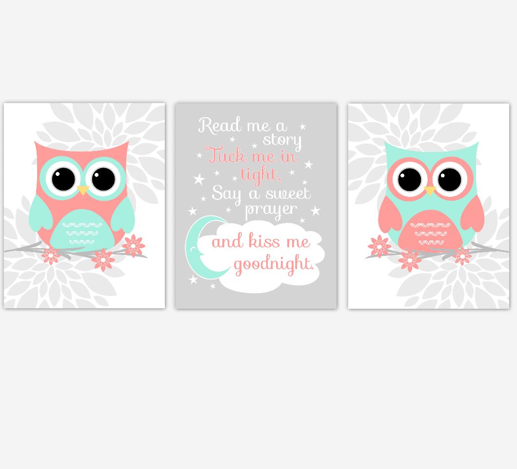 Coral Mint Baby Girl Nursery Wall Art Owls Mum Dahlia Flower Nursery Decor