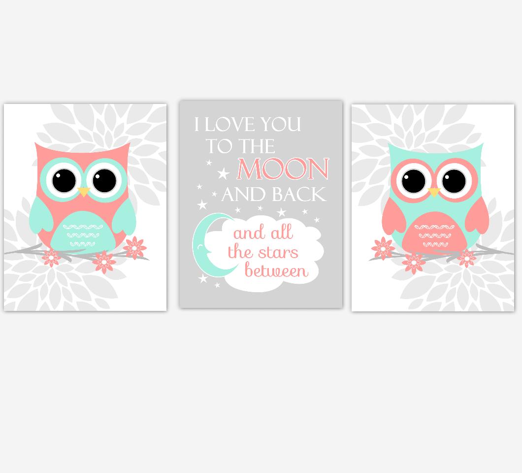 Coral Mint Baby Girl Nursery Wall Art Owls Mum Dahlia Flower I Love You To The Moon And Back Nursery Decor