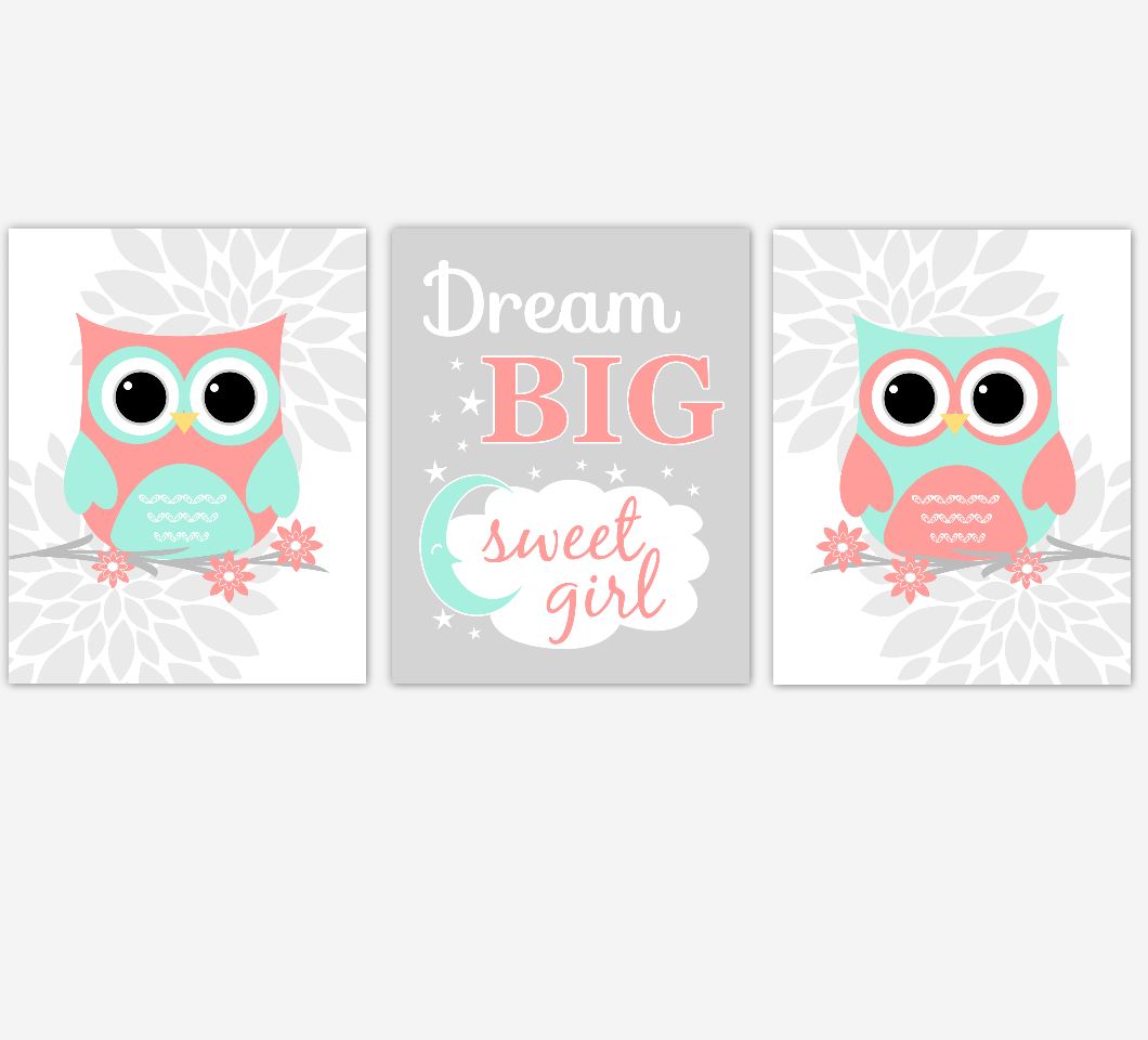Coral Mint Baby Girl Nursery Wall Art Owls Mum Dahlia Flower Dream Big Sweet Girl Nursery Decor