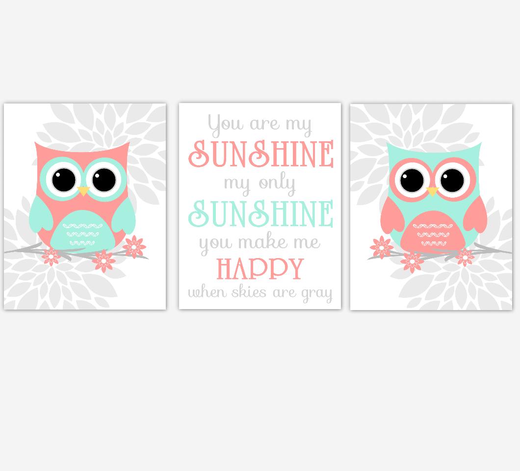 Coral Mint Baby Girl Nursery Wall Art Owls Mum Dahlia Flower You Are My Sunshine Nursery Decor