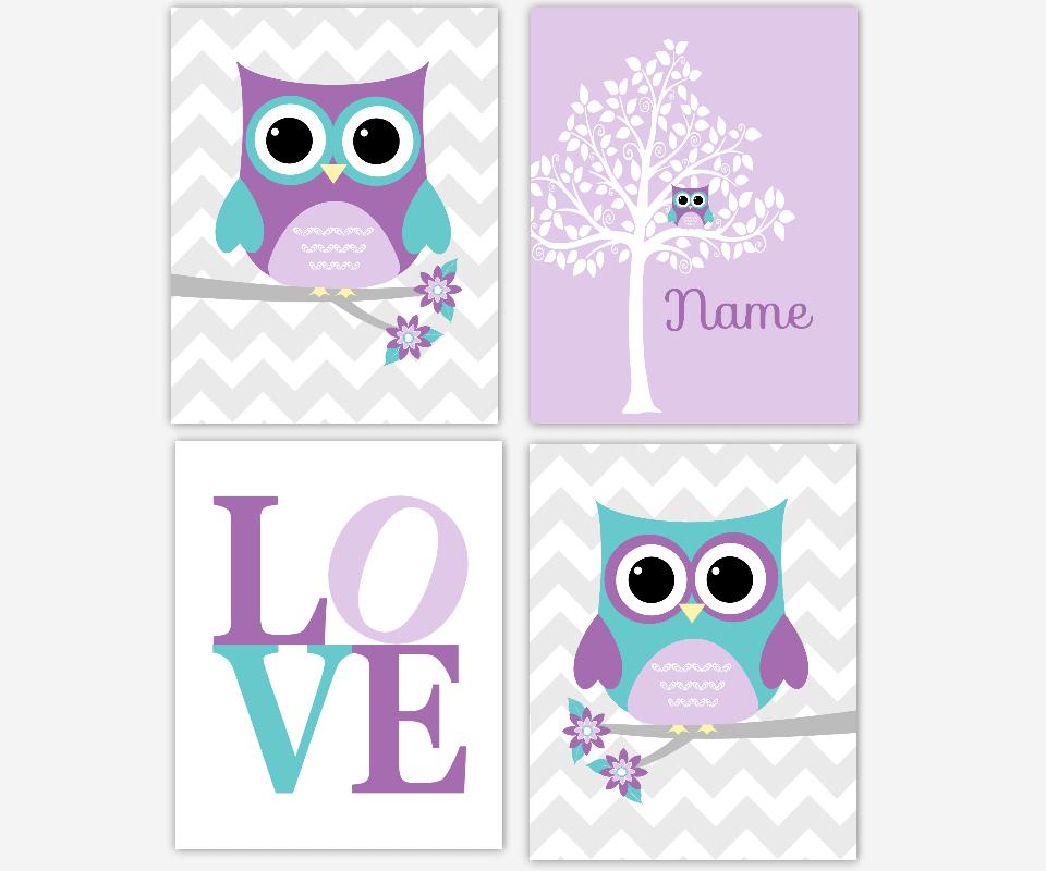 Baby Girl Nursery Art Purple Teal Lavender Gray Owls Owl White Silhouette Tree LOVE Personalize Name Monogram Art Baby Nursery Decor Owl Wall Decor Chevron