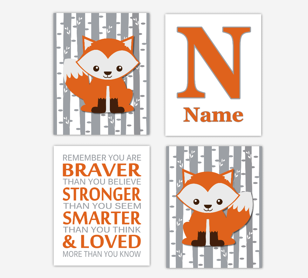 Fox Baby Boy Nursery Wall Art Personalized Prints Remember You Are Braver Baby Nursery Decor Bedroom Prints