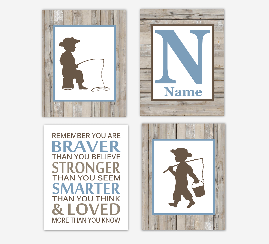 Fishing Baby Boy Nursery Wall Art Blue Gray Rustic Personalized Baby Nursery Decor Woodland Animals