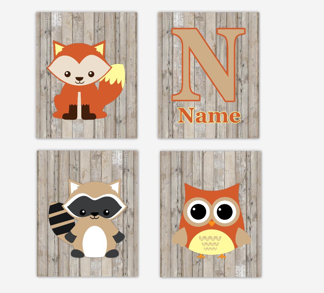 Woodland Animals Baby Nursery Wall Art Fox Raccoon Owl Rustic Personalized Prints Baby Nursery Decor