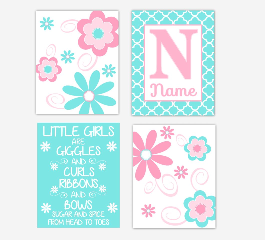 Floral Baby Girl Nursery Art Pink Aqua Teal Personalized Flower Prints