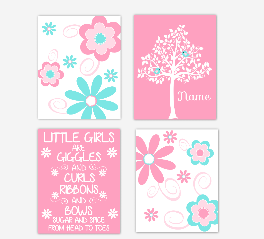Floral Baby Girl Nursery Art Pink Aqua Teal Personalized Flower Prints Little Girl Giggles and Curls