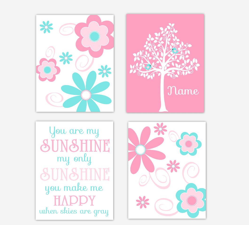 Floral Baby Girl Nursery Art Pink Aqua Teal Personalized Flower Prints You Are My Sunshine Baby Nursery Decor