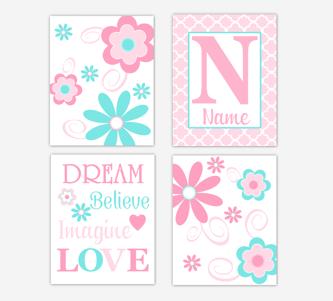 Floral Baby Girl Nursery Art Pink Aqua Teal Personalized Flower Prints Dream Believe Imagine LOVE Baby Nursery Decor