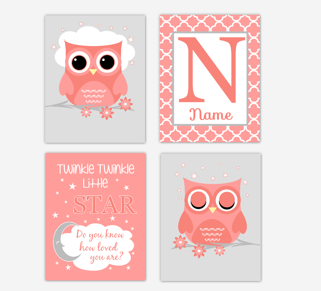Coral Baby Girl Nursery Art Owl Personalized Name Print Twinkle Twinkle Little Star Baby Nursery Decor