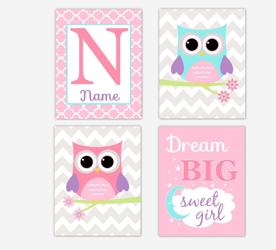 Owl Baby Girl Nursery Art Owl Pink Purple Aqua Personalized Name Print Dream Big Sweet Girl Baby Nursery Decor