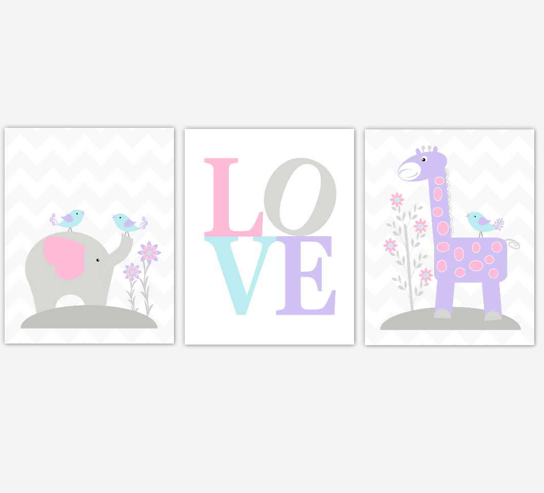 Baby Girl Nursery Art Pink Purple Aqua Elephant Giraffe Safari Jungle Animals LOVE Baby Nursery Decor