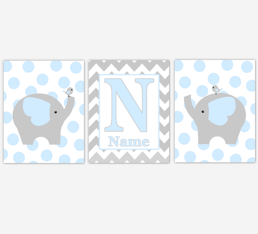 Elephant Baby Boy Nursery Art Blue Gray Personalized Name Print Baby Nursery Decor