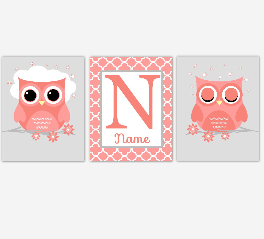 Coral Baby Girl Nursery Art Owls Personalized Name Print Baby Nursery Decor
