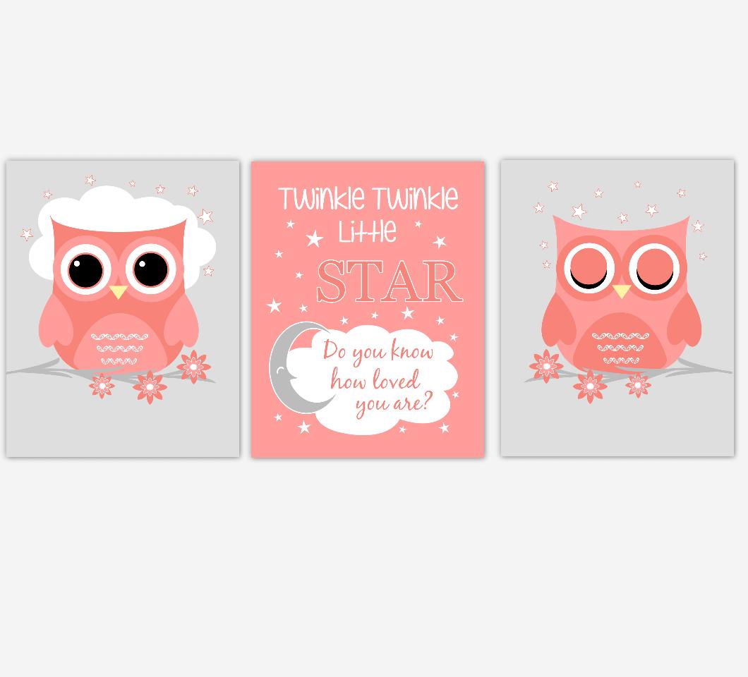 Coral Baby Girl Nursery Art Owls Twinkle Twinkle Little Star Print Baby Nursery Decor