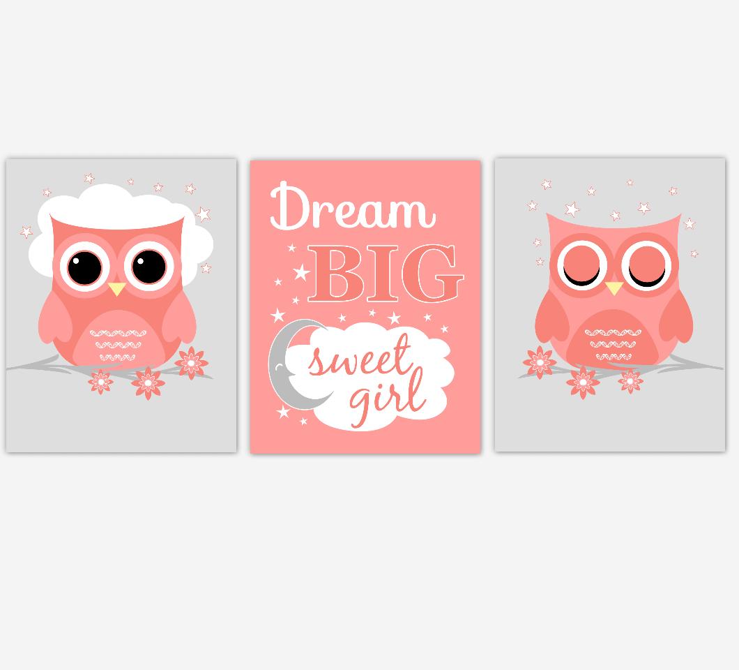 Coral Baby Girl Nursery Art Owls Dream Big Sweet Girl Print Baby Nursery Decor