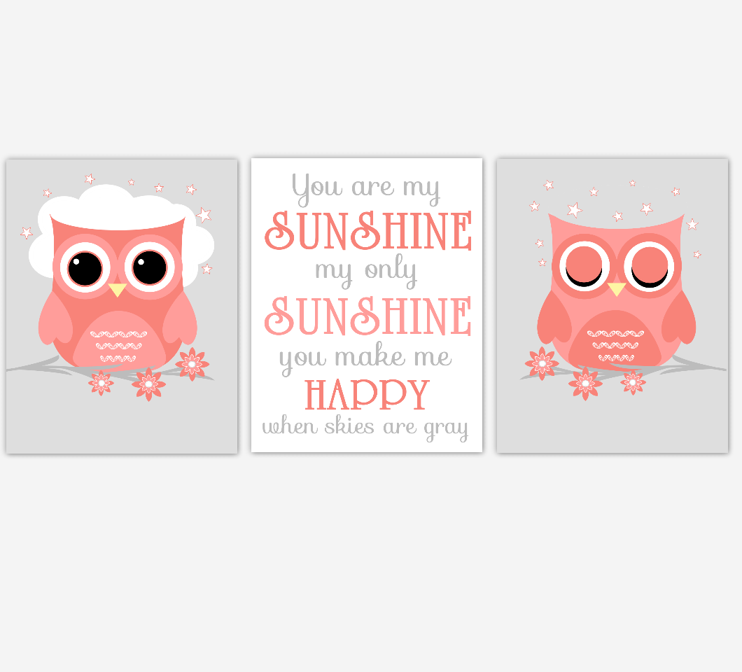 Coral Baby Girl Nursery Art Owls You Are My Sunshine Print Baby Nursery Decor