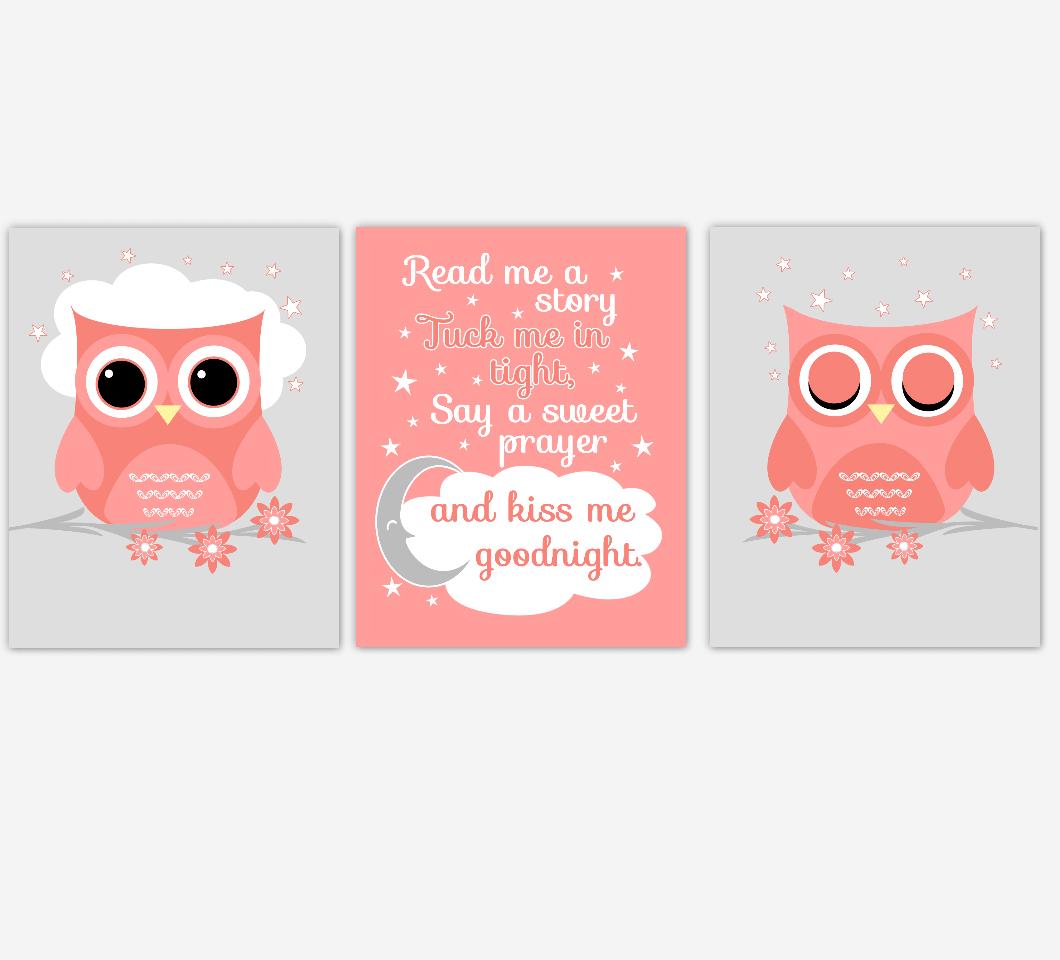 Coral Baby Girl Nursery Art Owls Read Me A Story Print Baby Nursery Decor