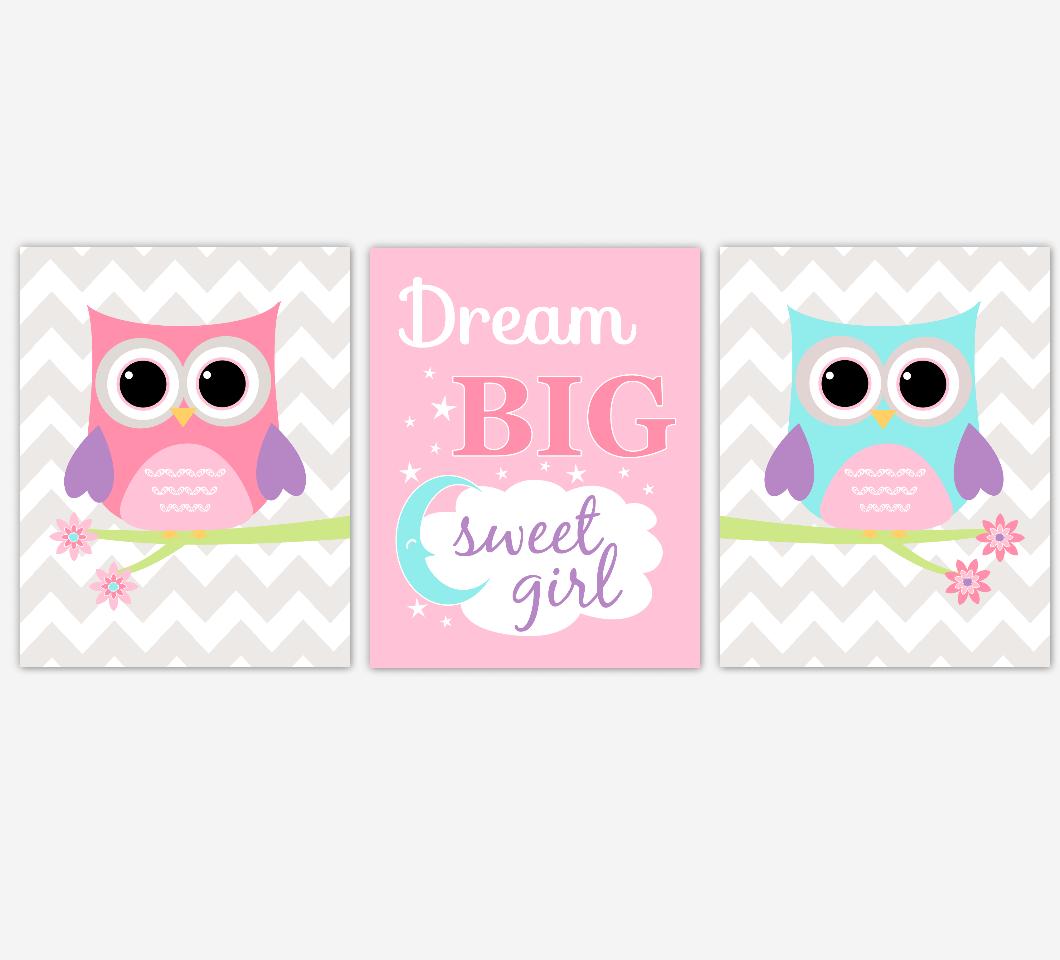 Baby Girl Nursery Art Pink Purple Aqua Owls Dream Big Sweet Girl Print Baby Nursery Decor