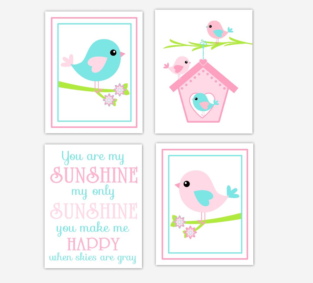 Baby Girl Nursery Art Pink Aqua Birds You Are My Sunshine Quote Prints Birdhouse Baby Nursery Decor