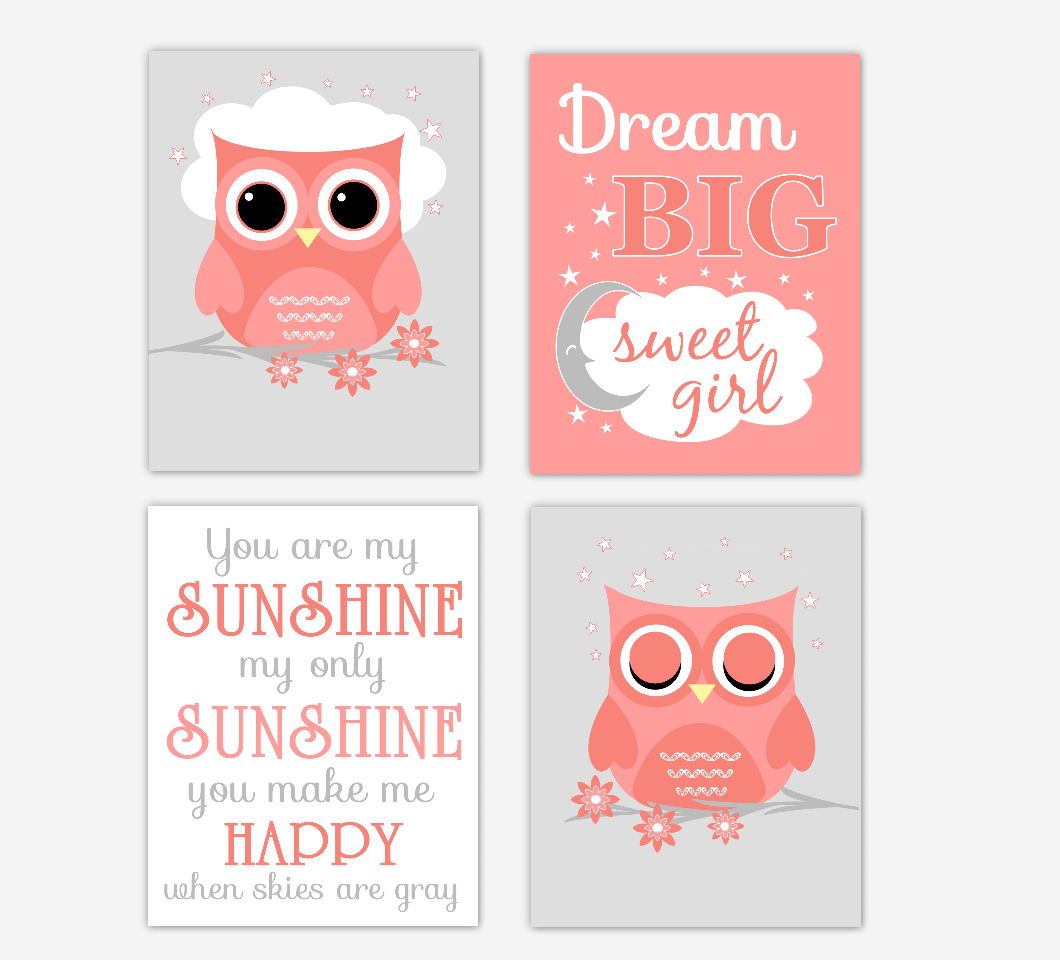 Coral Baby Girl Nursery Decor Owls Dream Big You Are My Sunshine Baby Nursery Decor