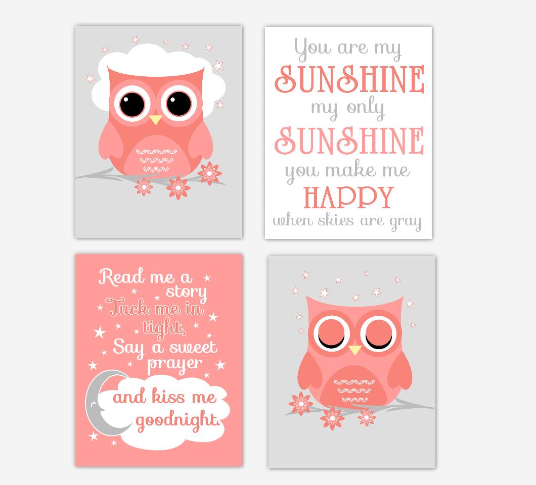 Coral Baby Girl Nursery Decor Owls Read Me A Story You Are My Sunshine Baby Nursery Decor