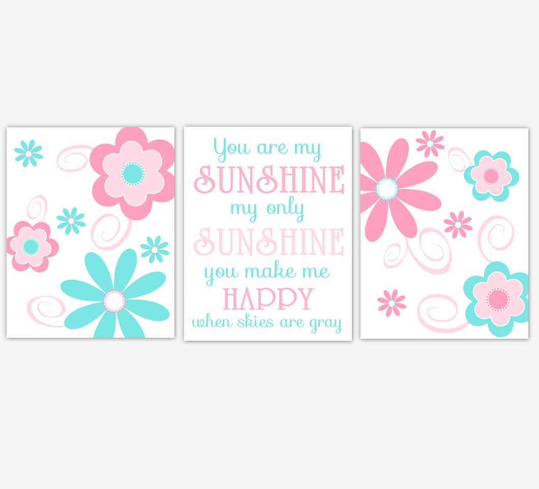 Baby Girl Nursery Wall Art Pink Aqua Flowers Floral You Are My Sunshine Print Baby Nursery Decor