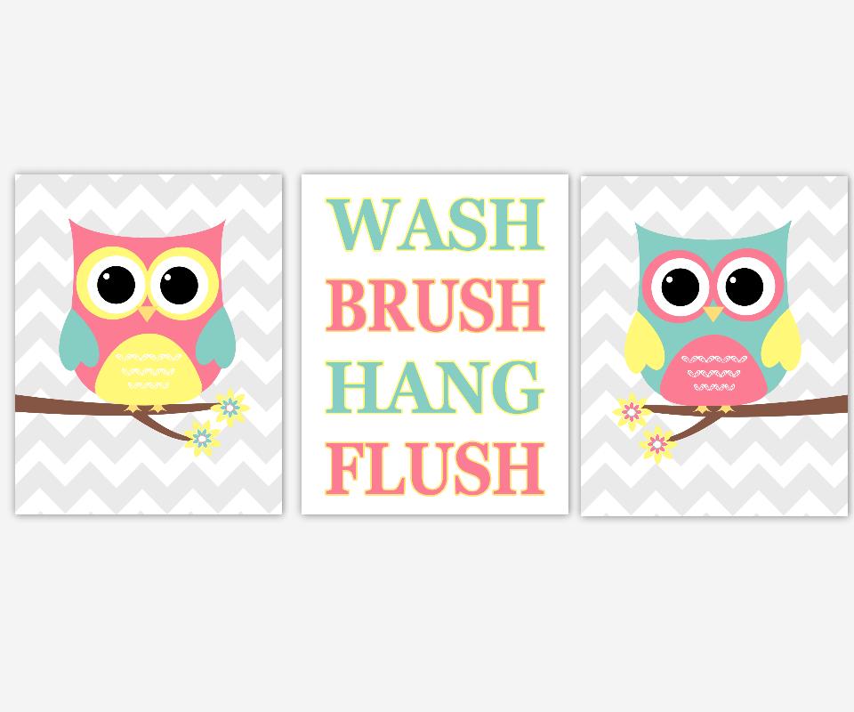 Owl Bath Wall Art Kids Bathroom Prints Pink Yellow Teal Bath Rules Wall Decor Owl Bath Decor Wash Brush Hang Flush Children Bathroom Prints
