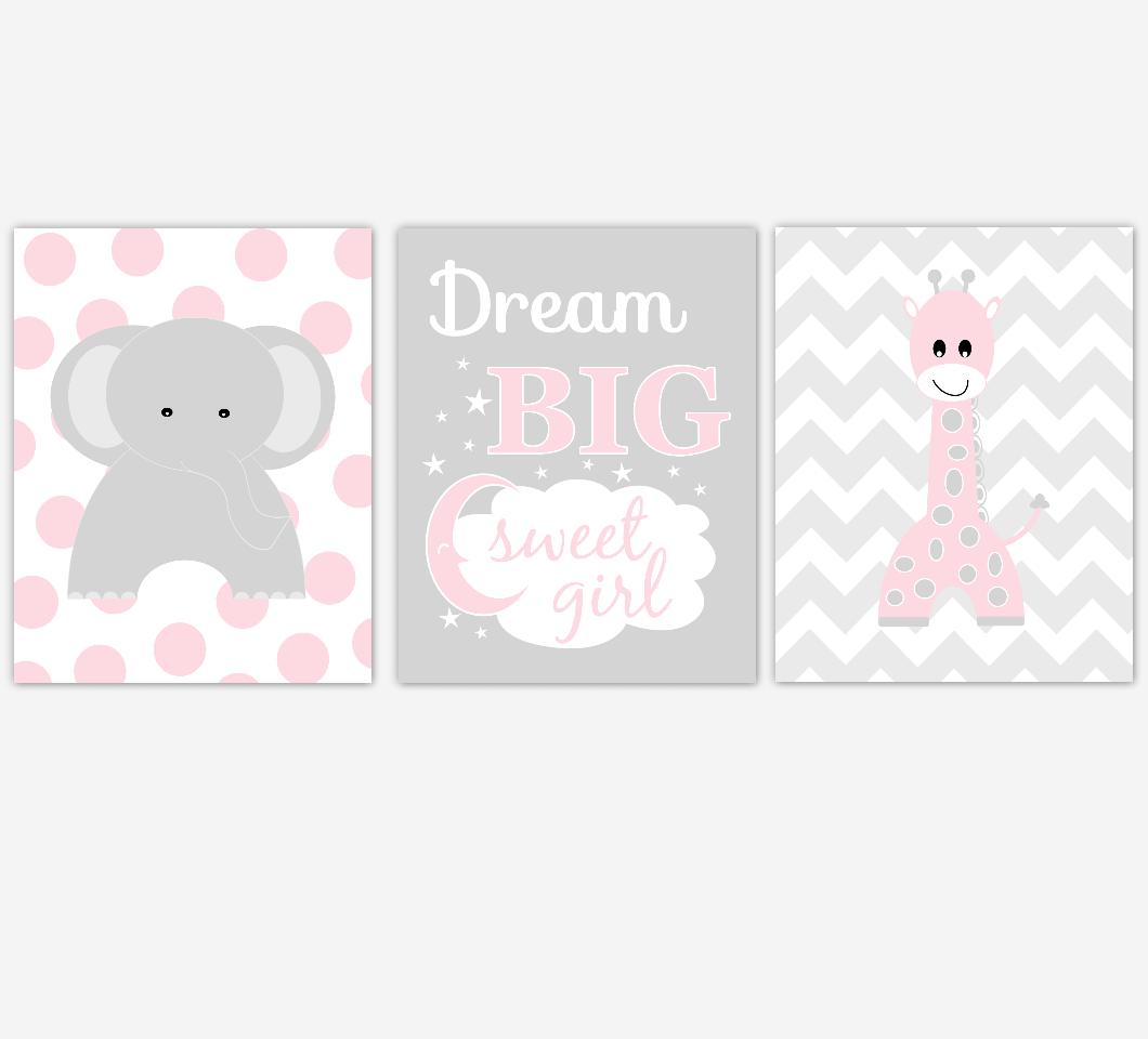 Pink Baby Girl Nursery Decor Elephant Giraffe Wall Art Prints Safari Nursery Decor Dream Big Sweet Girl