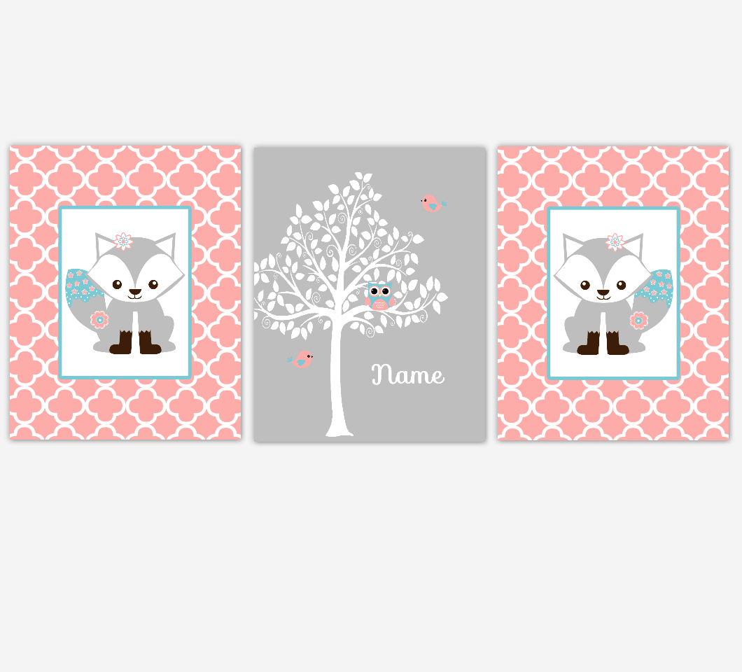 Coral Baby Girl Nursery Decor Fox Woodland Animals Tree Personalized Baby Girl Wall Art