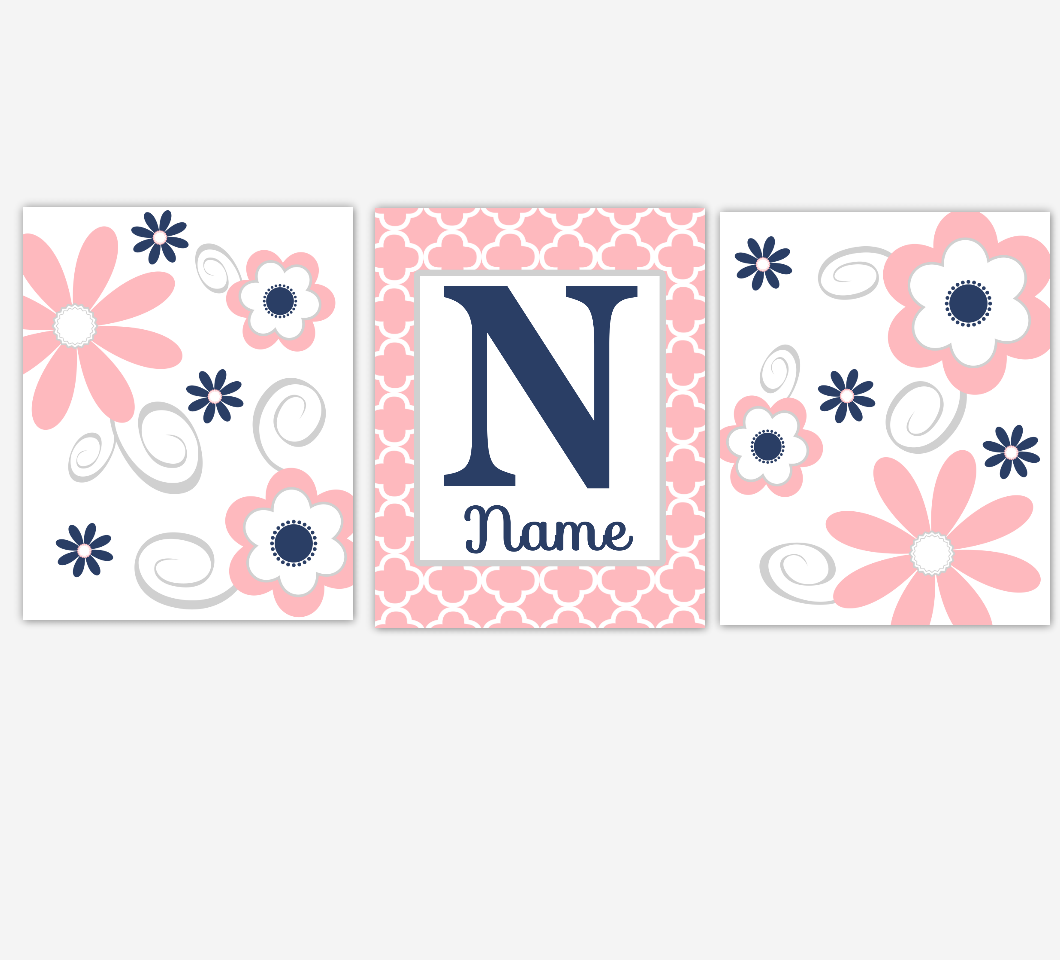 Coral Pink Baby Girl Nursery Decor Navy Flowers Floral Flourish Personalized Baby Girl Wall Art