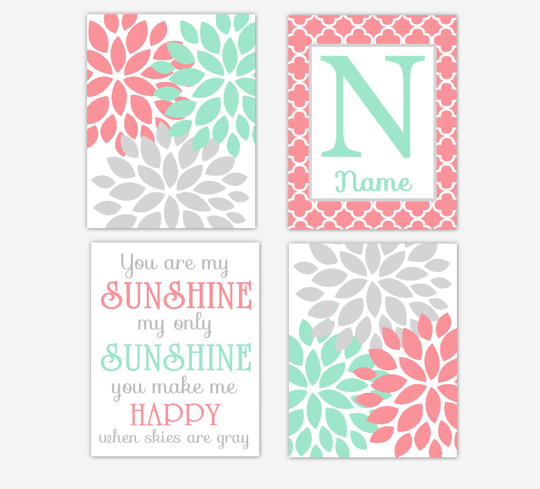 Coral Mint Baby Girl Nursery Decor Dahlia Mum Flowers You Are My Sunshine Wall Art Personalized