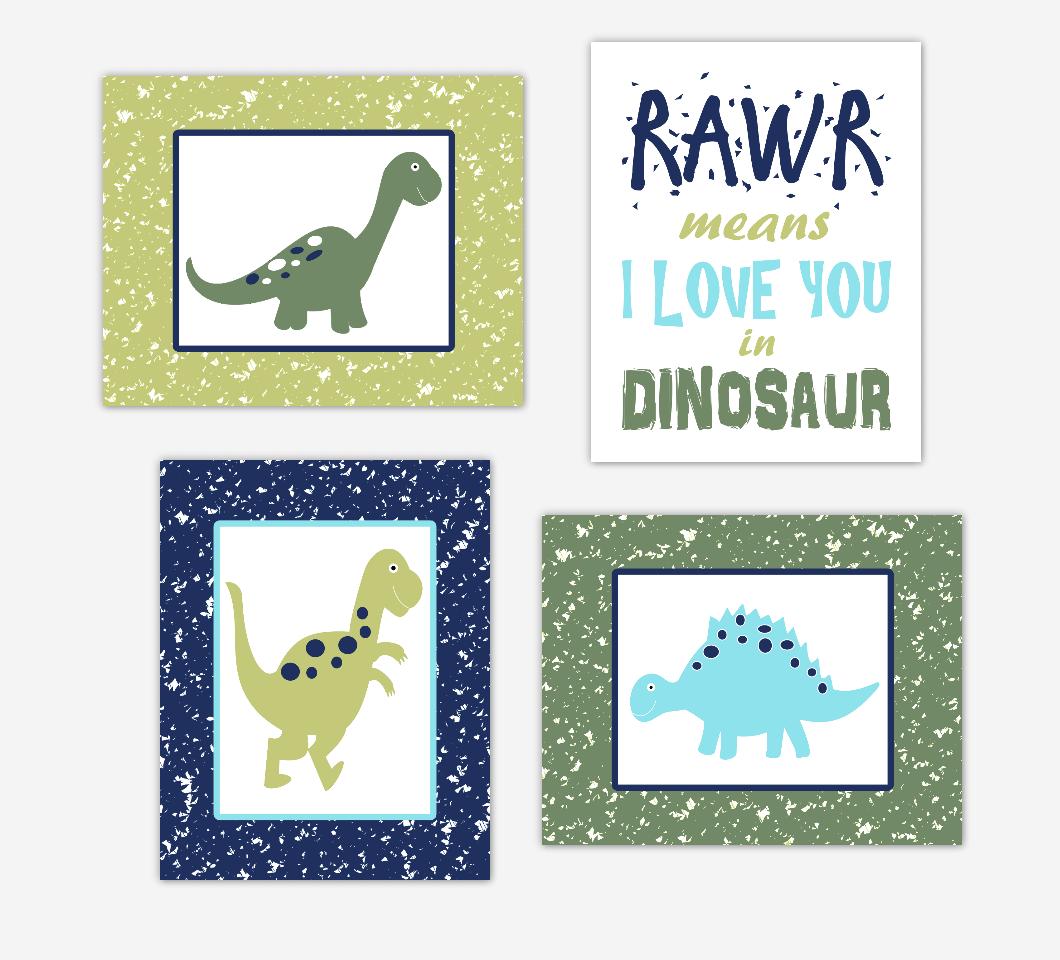 Dinosaur Baby Boy Nursery Decor Green Navy Blue Toddler Boy Bedroom Wall Art