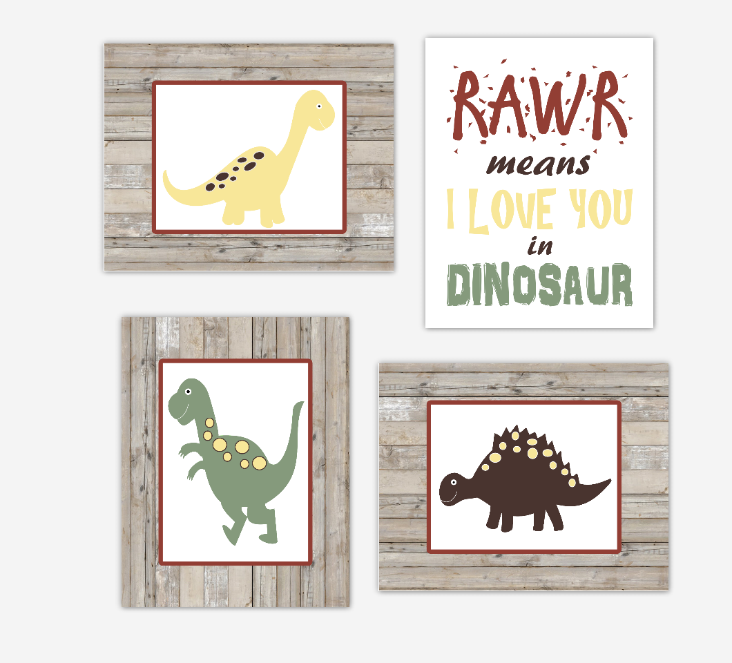 Dinosaur Baby Boy Nursery Decor Green Navy Blue Rustic Farmhouse Style Toddler Boy Bedroom Wall Art
