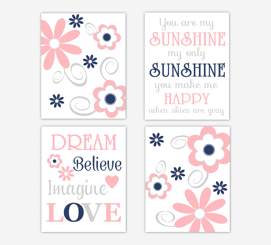 Coral Pink Baby Girl Nursery Decor Navy Blue Flowers Floral You Are My Sunshine Wall Art Prints