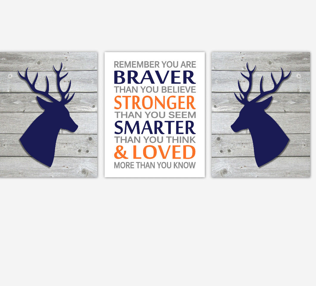 Navy Orange Baby Boy Nursery Decor Deer Remember You Are Braver Rustic Farmhouse Baby Boy Room Wall Art Prints