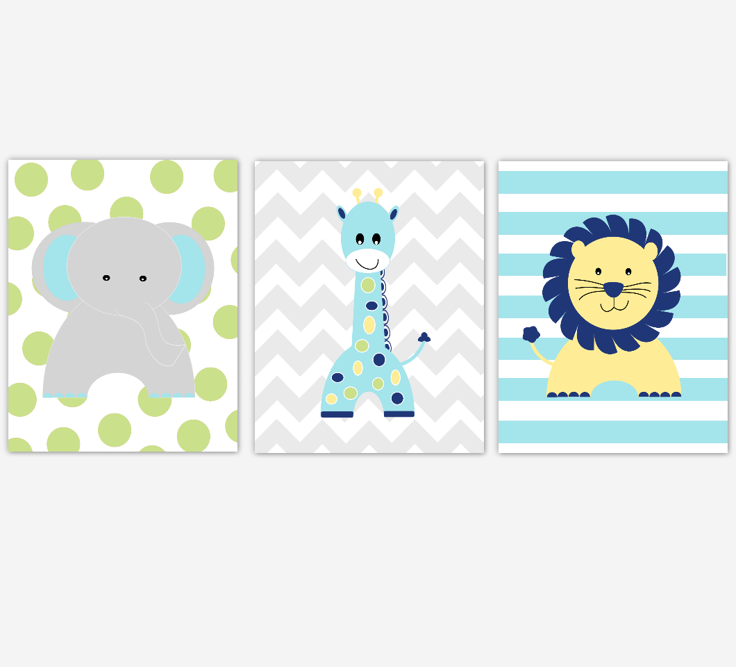 Safari Baby Boy Nursery Decor Yellow Blue Green Elephant Giraffe Lion Jungle Animals Baby BoyRoom Wall Art Prints