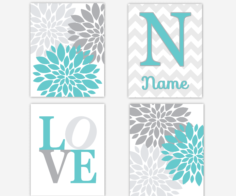 Teal Baby Nursery Wall Art Turquoise Gray Modern Flower Bursts Dahlis Girl Room Floral Wall Decor Personalize Name Art Baby Nursery Decor