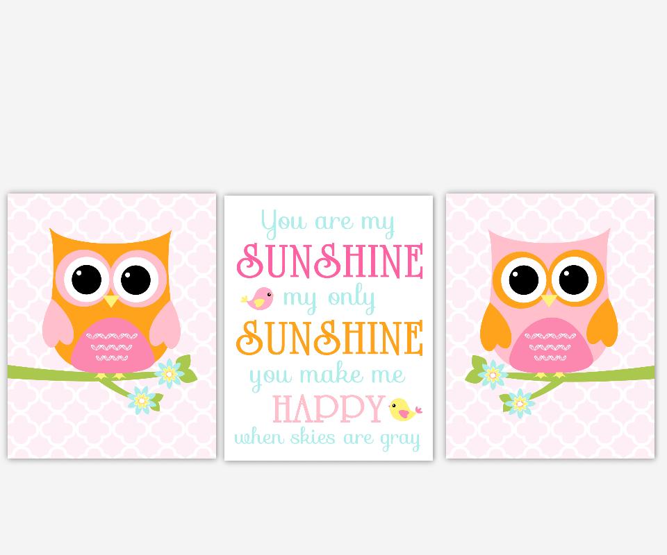 Baby Girl Nursery Art Owl Pink Orange Aqua You Are My Sunshine Birds Quatrefoil Baby Nursery Decor Girl Room Prints