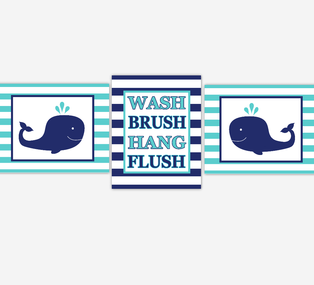 Kids Bathroom Wall Art Navy Blue Teal Whales Wash Brush Hang Flush Bathroom Rules Kids Bath Wall Decor Whale Bath Decor Under The Sea Bath SET OF 3 UNFRAMED PRINTS