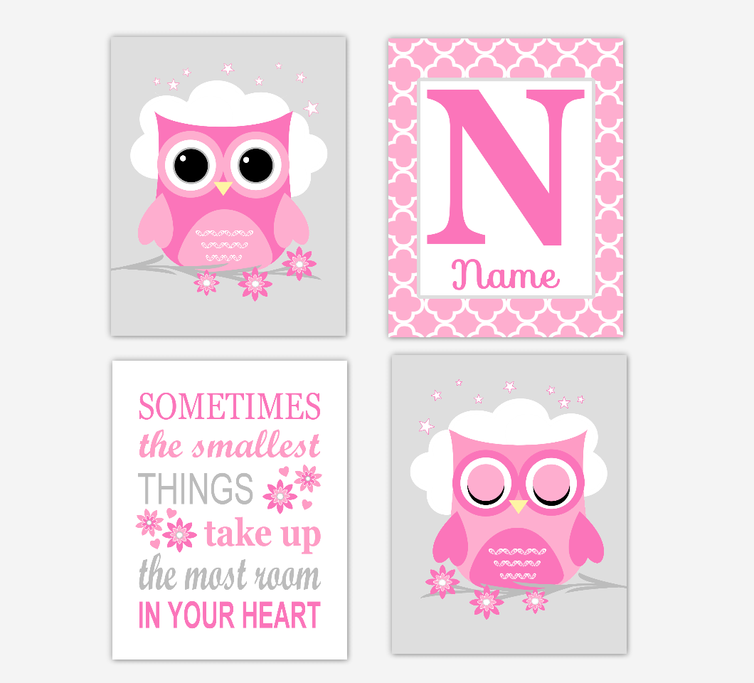 Pink Owl Baby Girl Nursery Wall Art Prints Personalized Sometimes The Smallest Things Baby Nursery Decor SET OF 4 UNFRAMED PRINTS