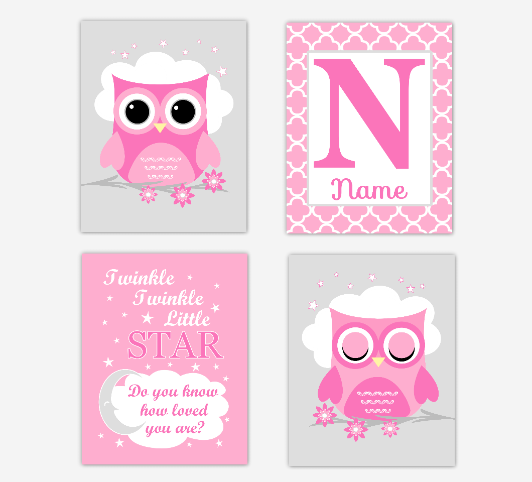 Pink Owl Baby Girl Nursery Wall Art Prints Personalized Twinkle Little Star Baby Nursery Decor  SET OF 4 UNFRAMED PRINTS