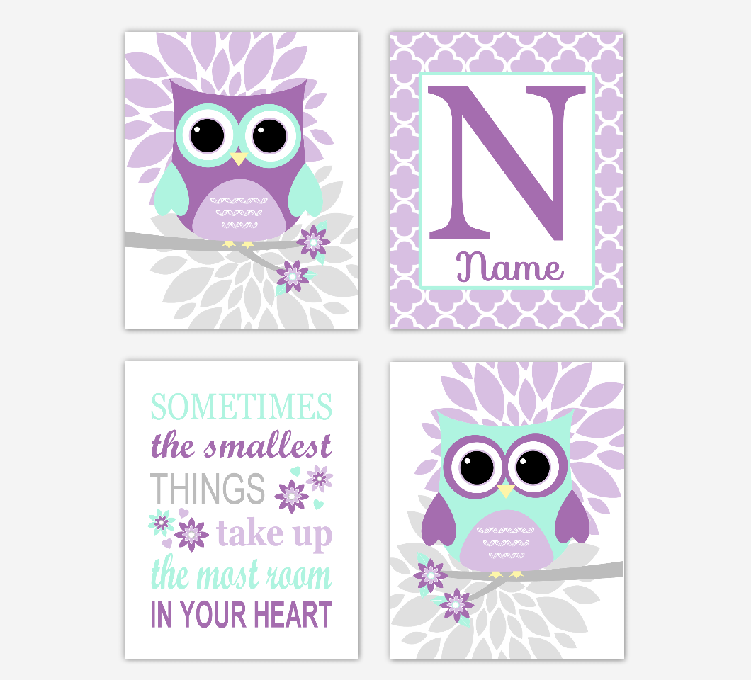 Purple Mint Owl Baby Girl Nursery Wall Art Prints Personalized Sometimes The Smallest Things Baby Nursery Decor     SET OF 4 UNFRAMED PRINTS