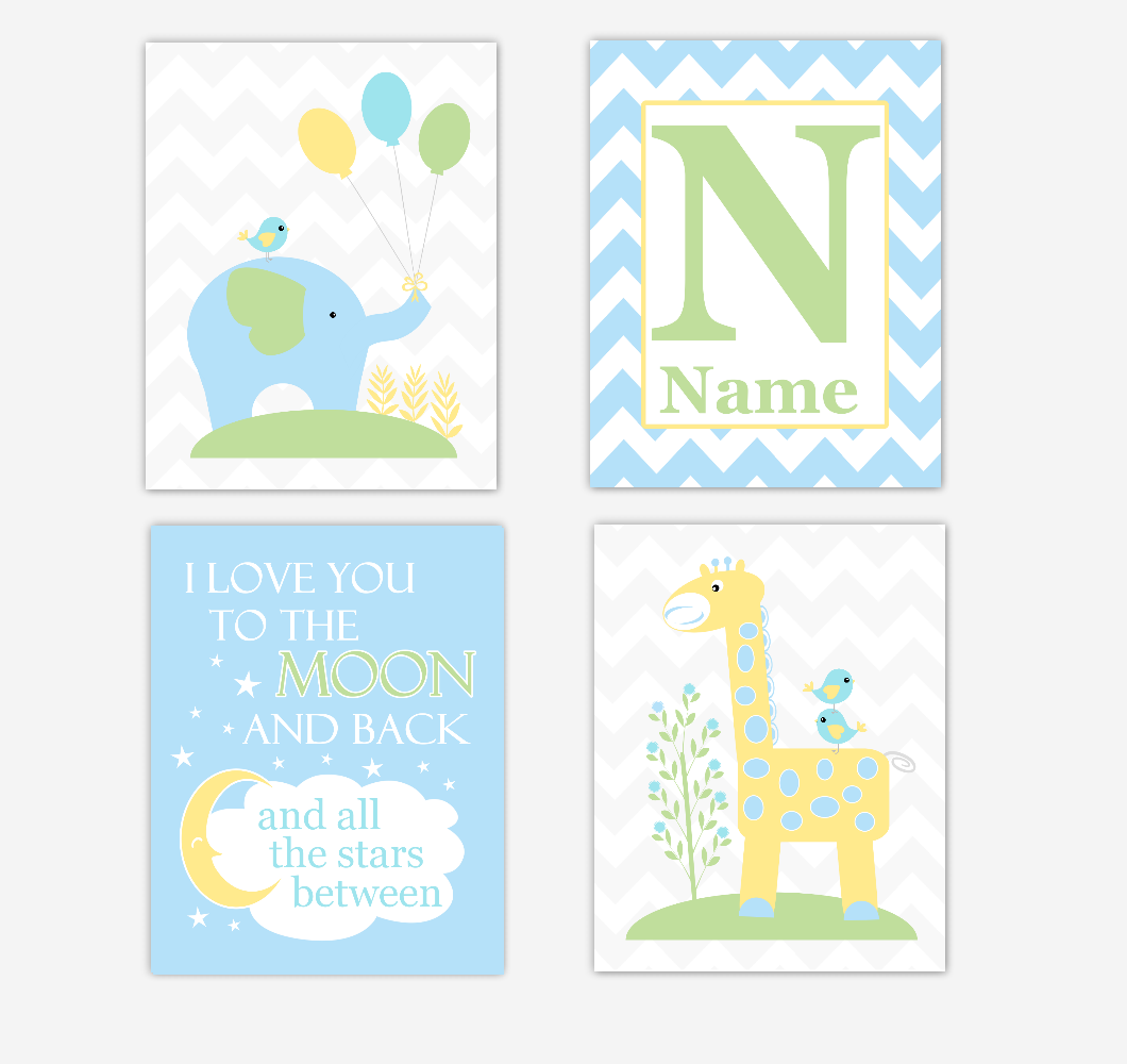 Safari Baby Boy Nursery Wall Art Prints Blue Yellow Green Elephant Giraffe I Love You To The Moon and Back Baby Nursery Decor     SET OF 4 UNFRAMED PRINTS